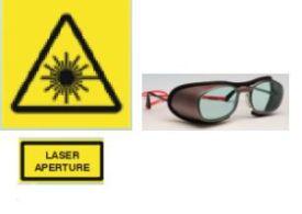 Waarschuwingslabels stralingsgevaar/veiligheidsbrillen, bron: Trumpf